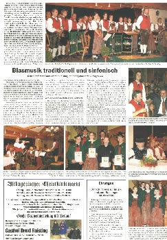 Ammmersee Kurier Zeitung Blaskapelle Raisting Konzert Nov 09 klein